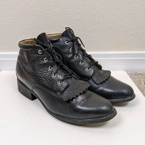 Ariate Leather Fringe Lace Up Ankle Boot Black 9